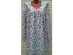 Теплая ночная рубашка из фланели большого размера 64 размер Розовые бутоны