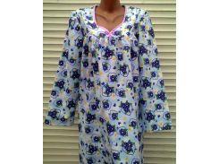 Теплая ночная рубашка из фланели 54 размер Фиалки сиреневые