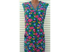 Летний халат без рукава 46 размер Розовые цветы
