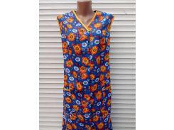 Летний халат без рукава 50 размер Оранжевые цветы