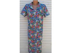 Летний халат с коротким рукавом 48 размер Цветы