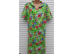 Летний халат с коротким рукавом большого размера 64 размер Анютки на зеленом
