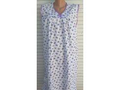 Ночная рубашка без рукава большого размера 64 размер Сиреневые цветы