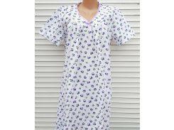 Ночная рубашка с рукавом большого размера 64 размер Сиреневые цветы