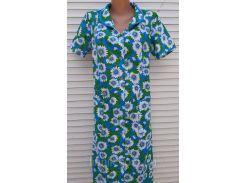 Летний халат с коротким рукавом 48 размер Ромашки