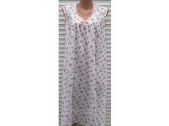 Ночная рубашка без рукава 58 размер Розовые розочки