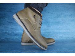 Ботинки мужские зимние кожаные оливковые Yuves 10530