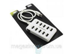 USB Hub H-20 10 PORT 0.6m additional power white Код:23095