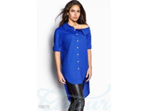 8d4a6aa9721 Асимметричная рубашка оверсайз (синий электрик) купить недорого за ...