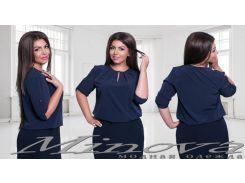 Блуза №349-темно-синий