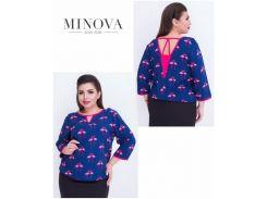 Блуза №410-синий фламинго
