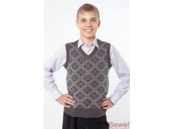 Жилет школьный QW255551904 (свинцовый;светло-серый)