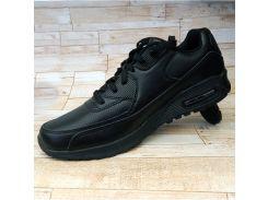 Кожаные кроссовки Найк черный с перфорацией