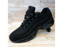 Мужские черные кроссовки Найк замш с перфорацией