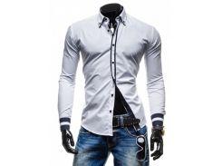 Рубашка с черными вставками (Белый)