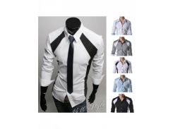 Мужская модная рубашка (Белый/Черный)
