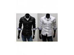 Стильная сорочка мужская (Белый/Черный)