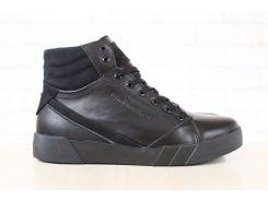 Ботинки мужские, зимние, из натуральной кожи, на меху, на шнурках, с вставками из натурального нубук