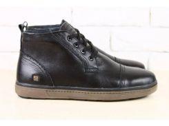Ботинки мужские, зимние, из натуральной кожи, черные, на шнурках