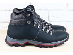 Ботинки мужские, зимние, из натуральной кожи, темно-синие, на шнурках, на меху