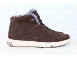 Мужские спортивные зимние ботинки, на меху, замшевые, на шнурках, коричневые