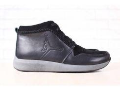 Ботинки мужские, зимние, черные, на шнурках, на меху, комбинированные: натуральная кожа и замша