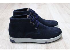 Зимние ботинки синяя замша