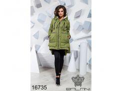 Теплая зимняя куртка - 16735 ( оливка)