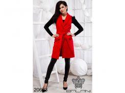 Стильная жилетка на поясе - 20683 (Красный)