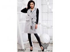 Стильная жилетка на поясе - 20687 (Серый)