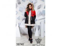 Теплая зимняя куртка - 16740 (красный/черный/бежевый)