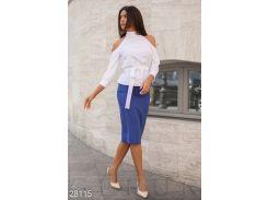 Изящный женский костюм (сине-белый)