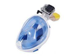 Маска для снорклинга полнолицевая Free Breath с креплением под экшн-камеру Голубой, L/XL