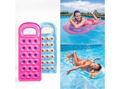 """Надувной пляжный матрас """"Стакан"""" Intex 59895 (188х71см) Розовый с фиолетовыми стаканами"""