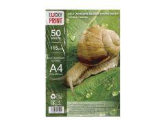 Самоклеящаяся глянцевая фотобумага Lucky Print (A4, 115г/м2) 50 листов