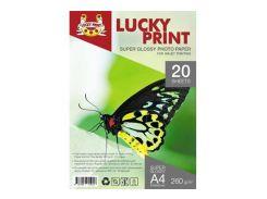 Суперглянцевая фотобумага Lucky Print (A4, 260г/м2), 20 листов