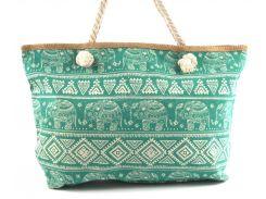 Яркая вместительная женская пляжная сумка Б/Н art. 9463 синяя маленькие якоря(100068)