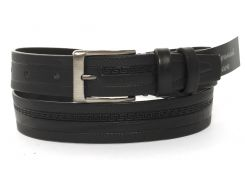 Кожаный прочный подростковый ремень3см (103151) черный