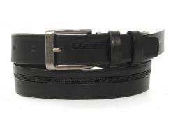 Кожаный прочный подростковый ремень3см (103153) черный