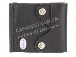 Недорогой кожаный мужской кошелек из мягкой кожи с зажимом для денег SWAN art. B 0014 BIG черный