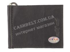 Недорогой кожаный мужской зажим для денег SWAN art. B 0014 small M черный