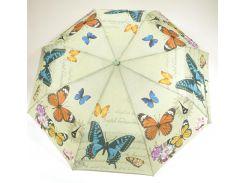 Женский симпатичный прочный зонтик полуавтомат art. 1702 светло салатовый/бабочки (100217)