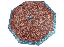 Женский симпатичный прочный зонтик полуавтомат art. 36 красный/голубой с узорами (100203)