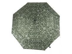 Женский симпатичныйпрочный зонтик полуавтомат PAOLO ROSI art. 20015 зеленый в узорах (101328)