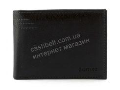 Кожаный черный аккуратный мужской кошелек с зажимом для денег CANTLOR art. G-163C черный