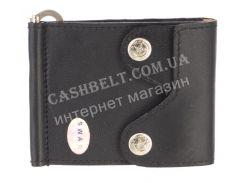 Недорогой кожаный мужской кошелек из мягкой кожи с зажимом для денег SWAN art. B 0014 small черный