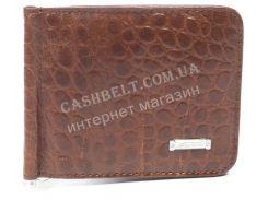 Удобный мужской зажим для купюр из натуральной качественной кожи  SALFEITE art. 2564T-D24 коричневый