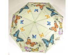 Женский симпатичный прочный зонтик полуавтомат art. 1702 светло салатовый/бабочки (100210)