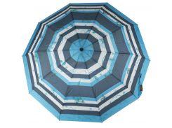 Женский прочный стильный зонтик полуавтоматS.L art. 477синие/голубыеполосы(101369)