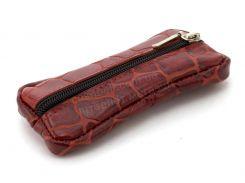 Стильная кожаная ключница с натуральной кожи ручной работы art.  (102730) красная рептилия